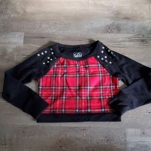 Justice plaid cropped sweater